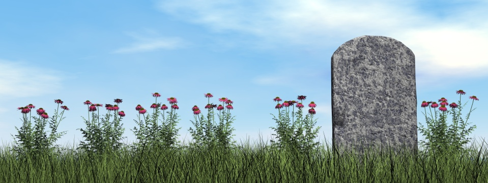 Tombstone and beautiful flowers - 3D render
