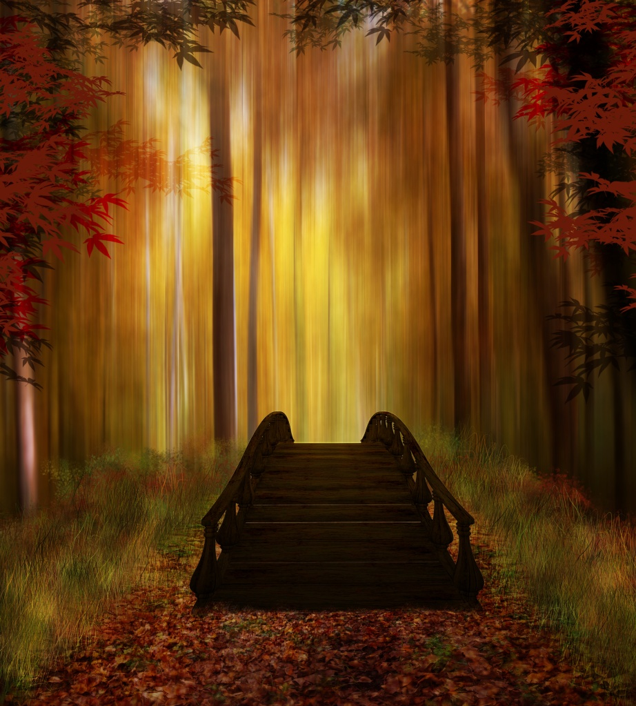 Fantastic forest with a wooden bridge in autumn